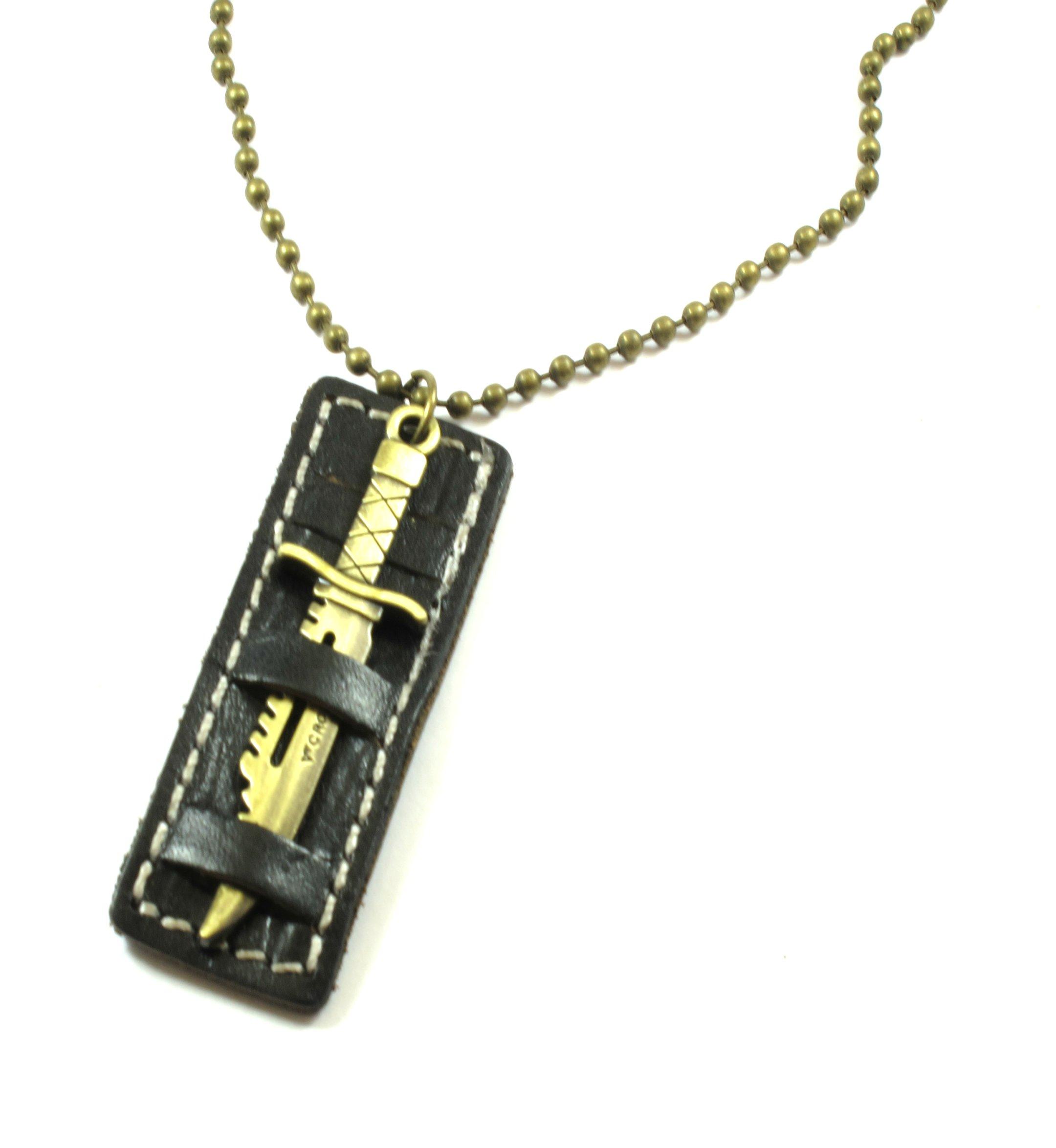 Κολιέ αντρικό κρεμαστό μεταλλικό με αλυσίδα μπίλια και δέρμα - e-xantra.gr 433a9a1f4aa